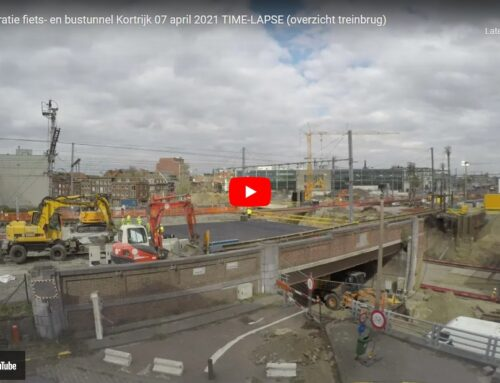 Stationsproject Kortrijk fiets- en bustunnel 7 april 2021 TIME-LAPSE (camerarichting spoorweg)