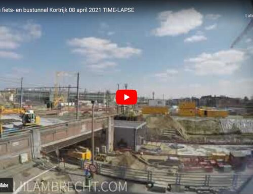 Inschuiven fiets- en bustunnel Kortrijk 8 april 2021 TIME-LAPSE